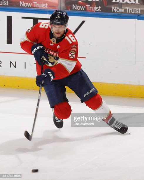 Aleksander Barkov of the Florida Panthers skates with the puck during first period action against the Tampa Bay Lightning at the BB&T Center on May...