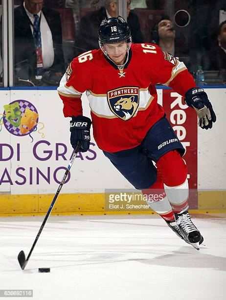 Aleksander Barkov of the Florida Panthers skates with the puck during warm ups prior to the start of the game against the Detroit Red Wings at the...