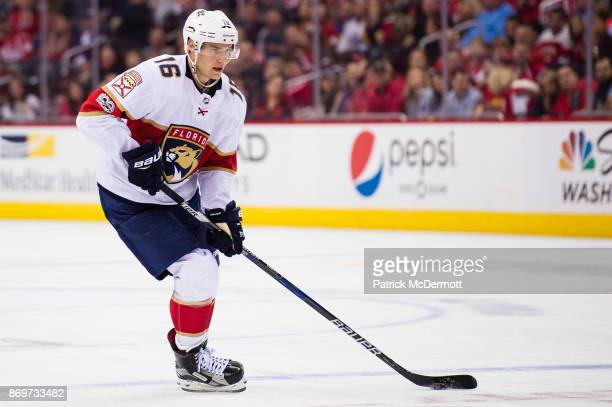 Aleksander Barkov of the Florida Panthers skates with the puck in the second period against the Washington Capitals at Capital One Arena on October...