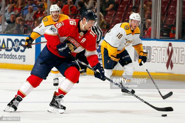 Aleksander Barkov of the Florida Panthers skates with the puck against during first period action against the Nashville Predators at the BBT Center...