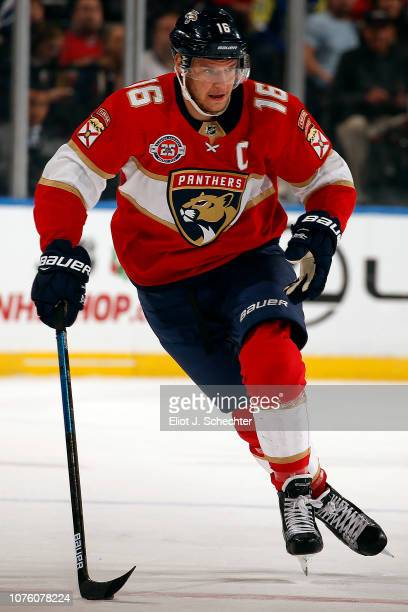 Aleksander Barkov of the Florida Panthers skates with the puck against the Tampa Bay Lightning at the BBT Center on December 1 2018 in Sunrise Florida