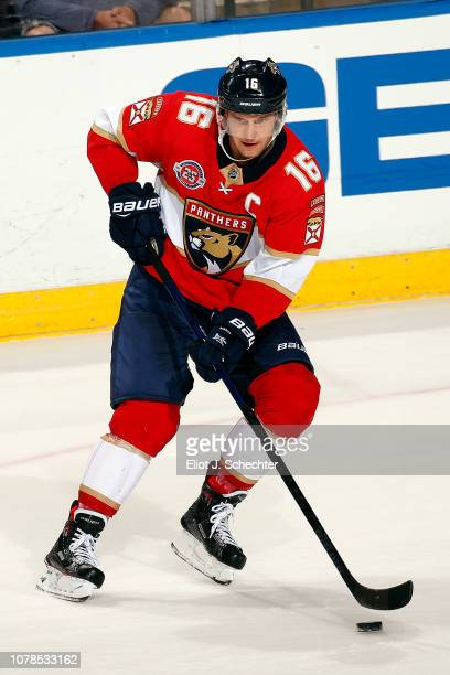 Aleksander Barkov of the Florida Panthers skates with the puck against the Colorado Avalanche at the BBT Center on December 6 2018 in Sunrise Florida