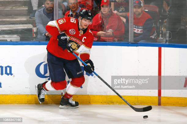 Aleksander Barkov of the Florida Panthers skates with the puck against the Toronto Maple Leafs at the BBT Center on December 15 2018 in Sunrise...