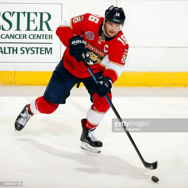 Aleksander Barkov of the Florida Panthers skates with the puck against the Columbus Blue Jackets at the BBT Center on January 5 2019 in Sunrise...