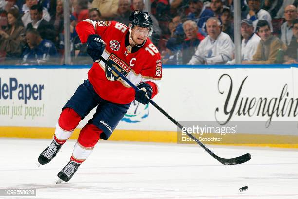 Aleksander Barkov of the Florida Panthers skates with the puck against the Toronto Maple Leafs at the BBT Center on January 18 2019 in Sunrise Florida
