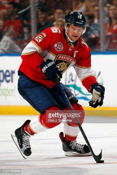 Aleksander Barkov of the Florida Panthers skates with the puck against the Vegas Golden Knights at the BBT Center on February 2 2019 in Sunrise...