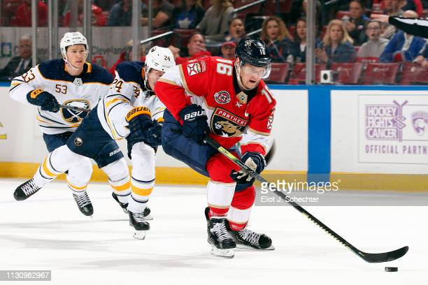 Aleksander Barkov of the Florida Panthers skates with the puck against the Buffalo Sabres at the BBT Center on February 19 2019 in Sunrise Florida