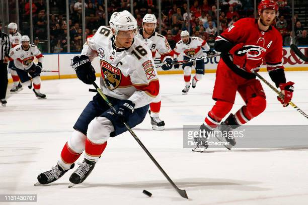 Aleksander Barkov of the Florida Panthers skates with the puck against the Carolina Hurricanes at the BBT Center on February 21 2019 in Sunrise...