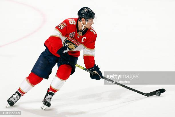 Aleksander Barkov of the Florida Panthers skates with the puck against the Carolina Hurricanes at the BBT Center on March 2 2019 in Sunrise Florida