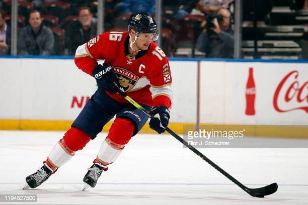 Aleksander Barkov of the Florida Panthers skates with the puck against the Ottawa Senators at the BB&T Center on December 16, 2019 in Sunrise,...