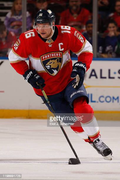 Aleksander Barkov of the Florida Panthers skates with the puck against the Vancouver Canucks at the BB&T Center on January 9, 2020 in Sunrise,...