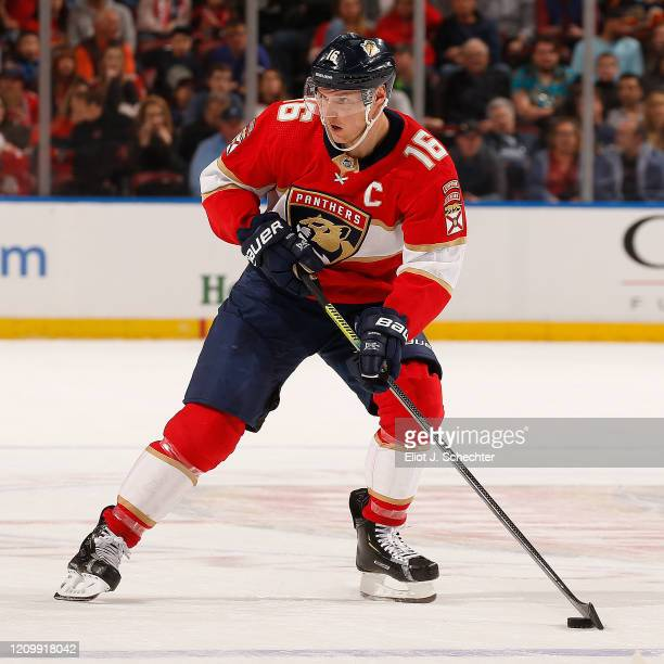 Aleksander Barkov of the Florida Panthers skates with the puck against the Calgary Flames at the BB&T Center on March 1, 2020 in Sunrise, Florida.
