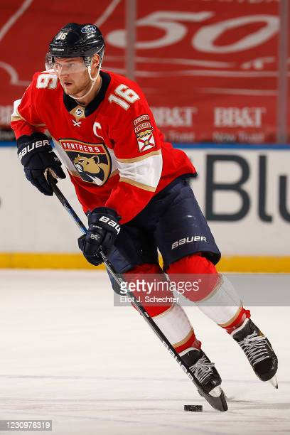 Aleksander Barkov of the Florida Panthers skates with the puck against the Nashville Predators at the BB&T Center on February 4, 2021 in Sunrise,...