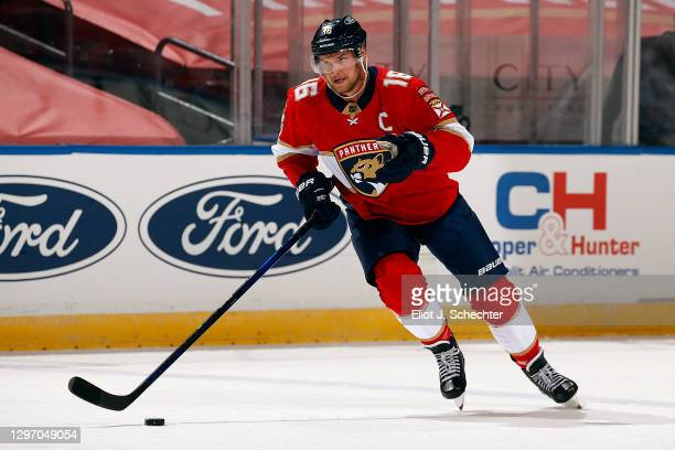 Aleksander Barkov of the Florida Panthers skates with the puck against the Chicago Blackhawks at the BB&T Center on January17, 2021 in Sunrise,...