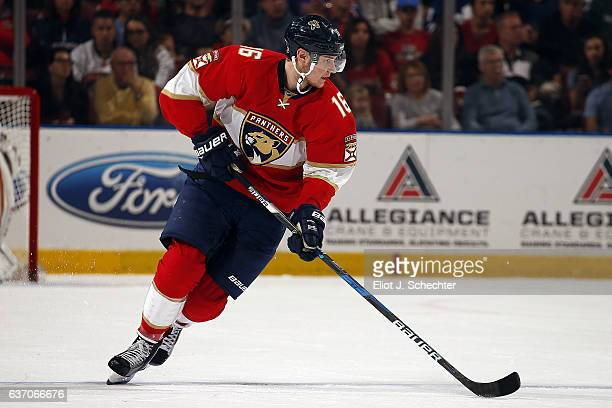 Aleksander Barkov of the Florida Panthers skates with the puck against the Toronto Maple Leafs at the BBT Center on December 28 2016 in Sunrise...