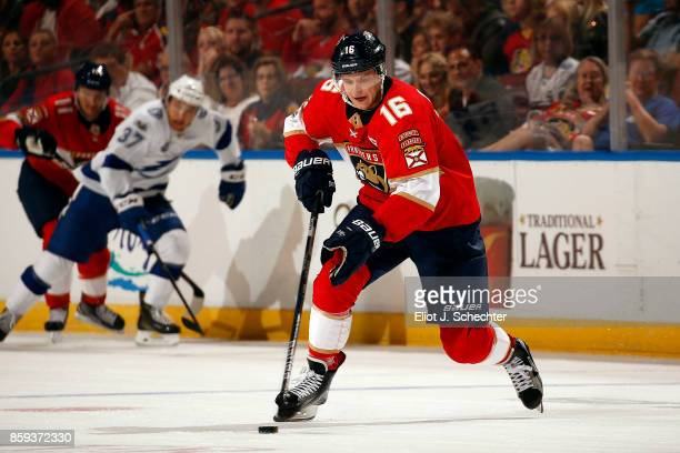 Aleksander Barkov of the Florida Panthers skates with the puck against the Tampa Bay Lightning at the BBT Center on October 7 2017 in Sunrise Florida