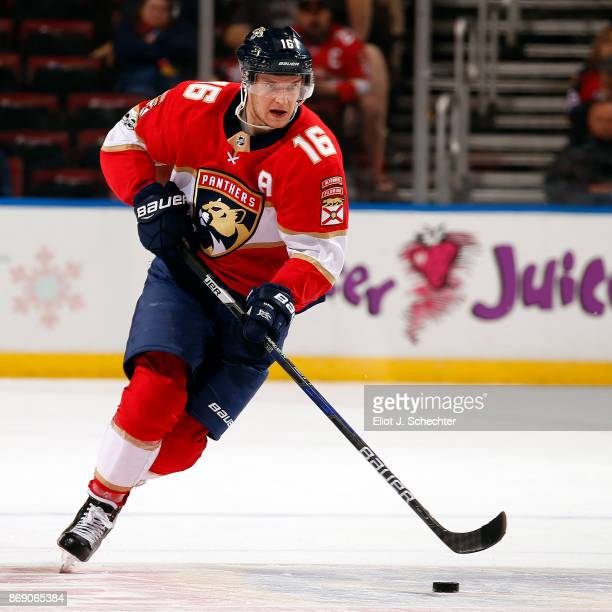 Aleksander Barkov of the Florida Panthers skates with the puck against the Tampa Bay Lightning at the BBT Center on October 30 2017 in Sunrise Florida