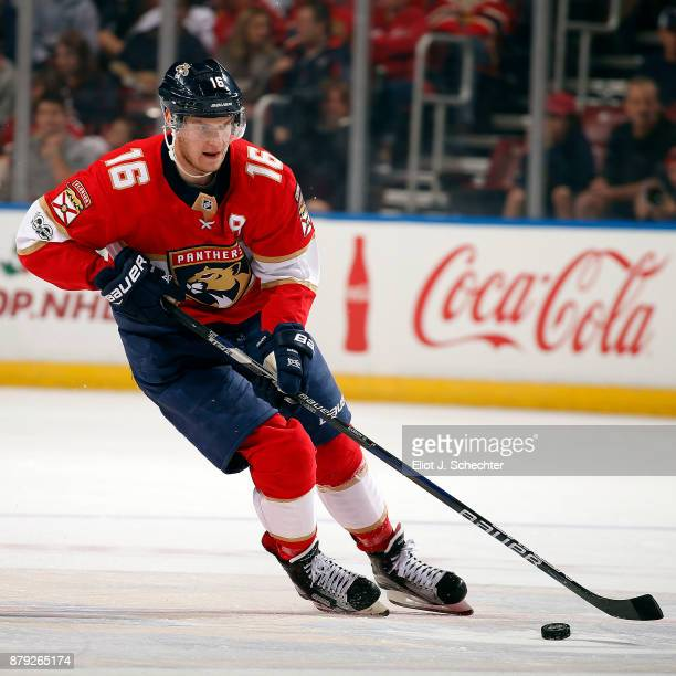 Aleksander Barkov of the Florida Panthers skates with the puck against the Toronto Maple Leafs at the BBT Center on November 22 2017 in Sunrise...
