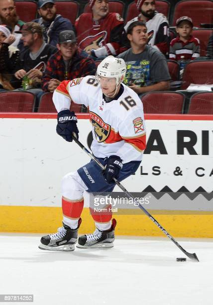 Aleksander Barkov of the Florida Panthers skates with the puck against the Arizona Coyotes at Gila River Arena on December 19 2017 in Glendale Arizona