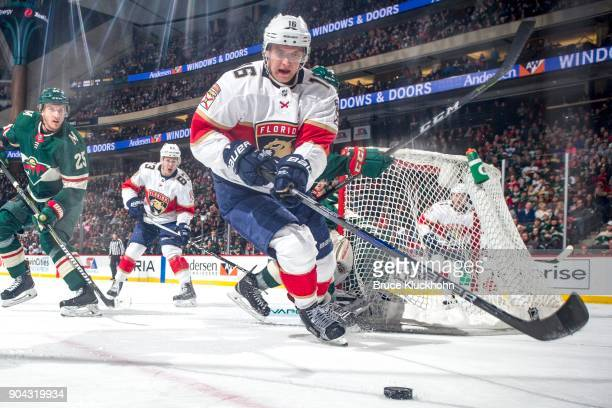 Aleksander Barkov of the Florida Panthers skates with the puck against the Minnesota Wild during the game at the Xcel Energy Center on January 2 2018...