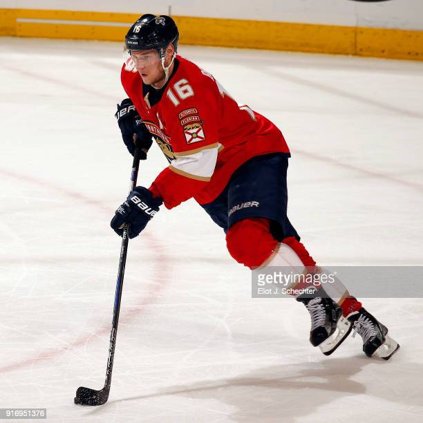 Aleksander Barkov of the Florida Panthers skates with the puck against the Los Angeles Kings at the BBT Center on February 9 2018 in Sunrise Florida