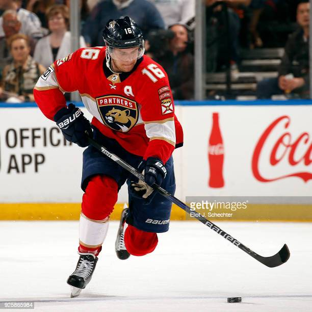 Aleksander Barkov of the Florida Panthers skates with the puck against the Toronto Maple Leafs at the BBT Center on February 27 2018 in Sunrise...