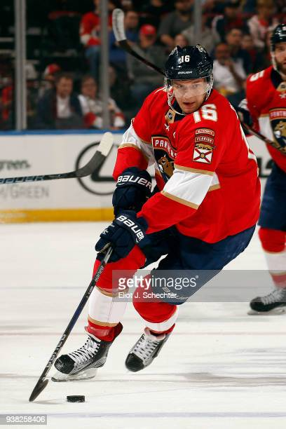 Aleksander Barkov of the Florida Panthers skates with the puck against the Arizona Coyotes at the BBT Center on March 24 2018 in Sunrise Florida...