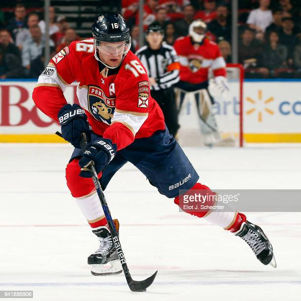 Aleksander Barkov of the Florida Panthers skates with the puck against the Carolina Hurricanes at the BBT Center on April 2 2018 in Sunrise Florida...