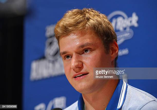 Aleksander Barkov of the Florida Panthers speaks with the media during a press availability on June 21 2016 at the Encore Ballroom in Las Vegas...
