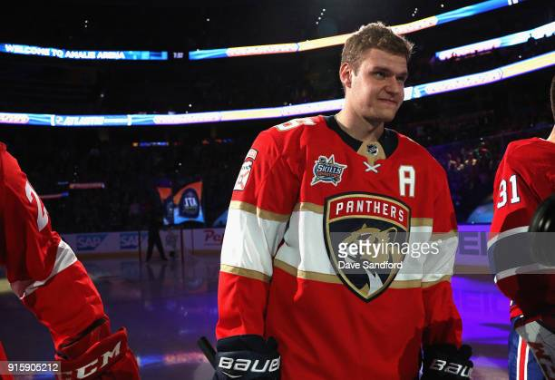 Aleksander Barkov of the Florida Panthers stands on the ice before the 2018 GEICO NHL AllStar Skills Competition at Amalie Arena on January 27 2018...