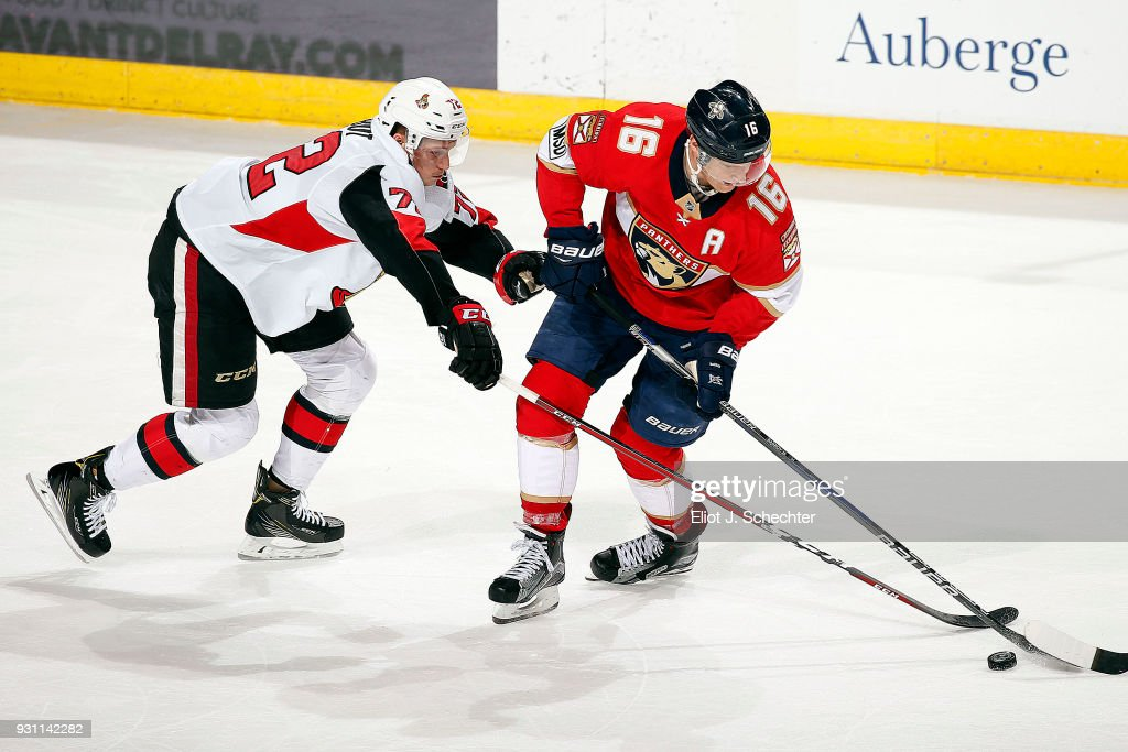 Aleksander Barkov #16 of the Florida Panthers tangles with Thomas Chabot #72 of the Ottawa Senators at the BB&T Center on March 12, 2018 in Sunrise, Florida.