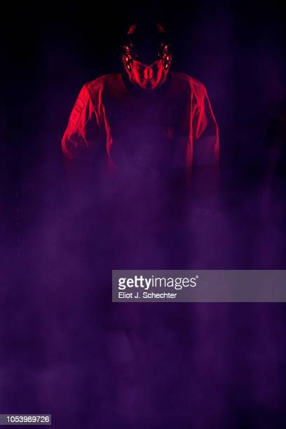 Aleksander Barkov of the Florida Panthers waits in the wings for team introductions prior to their season home opener against the Columbus Blue...