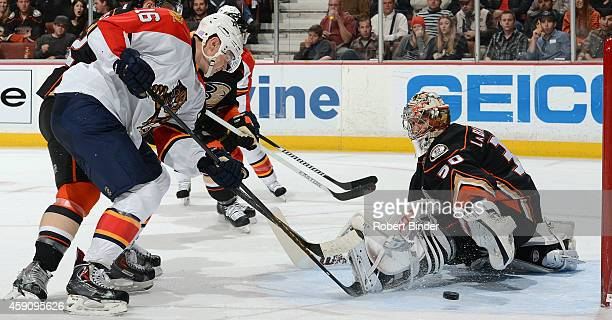 Aleksander Barkov of the Florida Panthers watches the puck get past Jason LaBarbera of the Anaheim Ducks for a goal on November 16 2014 at Honda...
