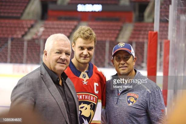 Aleksander Barkov was named as captain of the Florida Panthers on Monday Sept 17 2018 Barkov middle with Panthers general manager Dale Tallon left...
