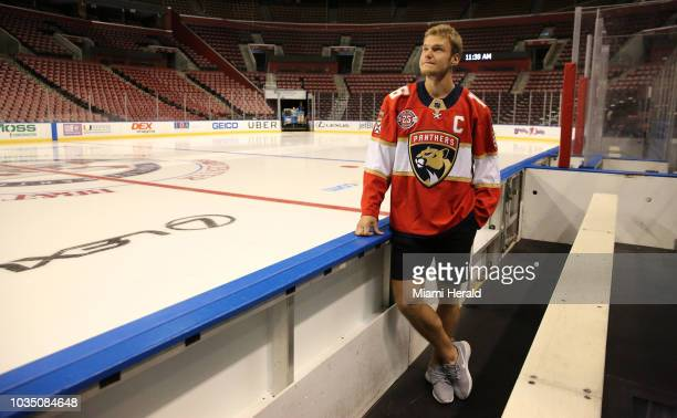 Aleksander Barkov was named as captain of the Florida Panthers on Monday Sept 17 2018 Barkov wears his jersey with the captain's letter on it...