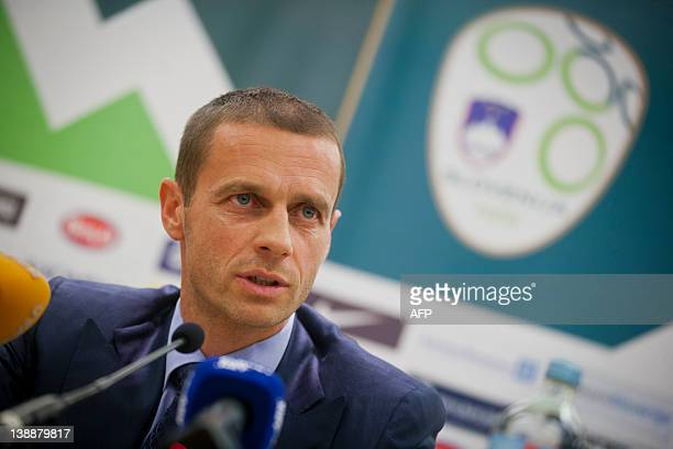 Aleksander Ceferin president of Slovenian Football Association speaks during press conference held by Slovenian Football Association to present new...