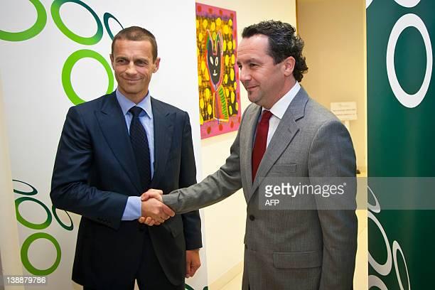 Aleksander Ceferin , president of the Slovenian Football Association welcomes Slavisa Stojanovic, new head coach of Slovenia Football Team prior to...