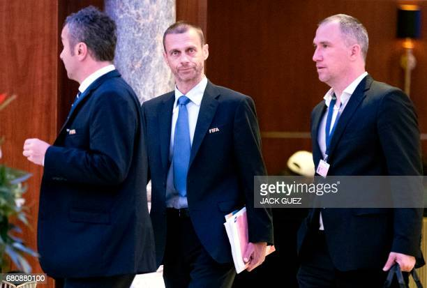 Aleksander Ceferin President of the UEFA leaves following a meeting of the FIFA council in Manama on May 9 2017 A fivehour long meeting of the...