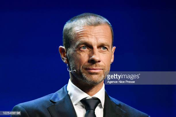 Aleksander Ceferin president of UEFA during the 2018/2019 UEFA Champions League draw on August 30 2018 in Monaco Monaco