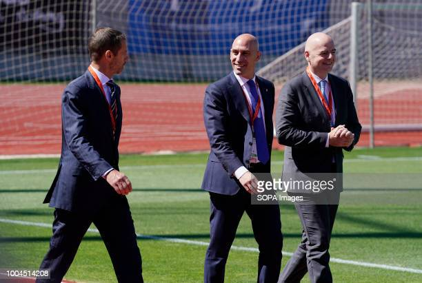 LAS ROZAS MADRID SPAIN Aleksander Ceferin president of UEFA Luis Rubiales president of RFEF and FIFA President Gianni Infantino seen walking outside...
