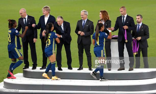 Aleksander Ceferin President of UEFA presents Selma Bacha of Olympique Lyon with her winners medal following her team's victory in the UEFA Women's...