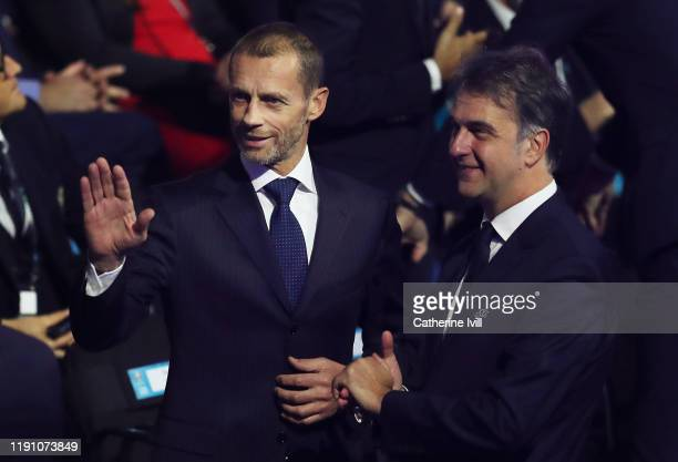 Aleksander Ceferin, President of UEFA reacts prior to the UEFA Euro 2020 Final Draw Ceremony at the Romexpo on November 30, 2019 in Bucharest,...