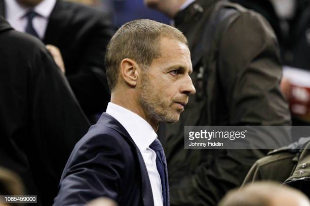 Aleksander Ceferin president UEFA prior the NBA game against Washington Wizards and New York Knicks at The O2 Arena on January 17 2019 in London...