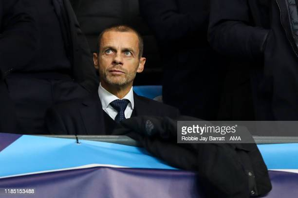 Aleksander Ceferin the president of UEFA during the UEFA Champions League group C match between Manchester City and Shakhtar Donetsk at Etihad...