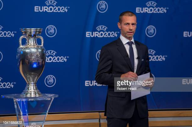 Aleksander Ceferin UEFA president announces the winner of the bid for EURO 2024 during the UEFA EURO 2024 Host Announcement Ceremony on September 27...