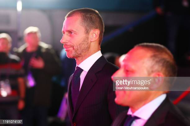 Aleksander Ceferin, UEFA President arrives at the venue prior to the UEFA Euro 2020 Final Draw Ceremony at the Romexpo on November 30, 2019 in...