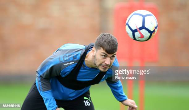 Aleksander Dragovic during the Leicester City training session at Belvoir Drive Training Complex on October 20 2017 in Leicester United Kingdom