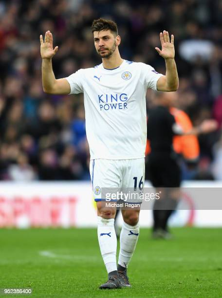 Aleksander Dragovic of Leicester City apologises to supporters during the Premier League match between Crystal Palace and Leicester City at Selhurst...