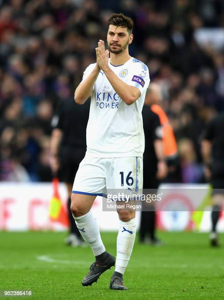 Aleksander Dragovic of Leicester City applauds supporters during the Premier League match between Crystal Palace and Leicester City at Selhurst Park...