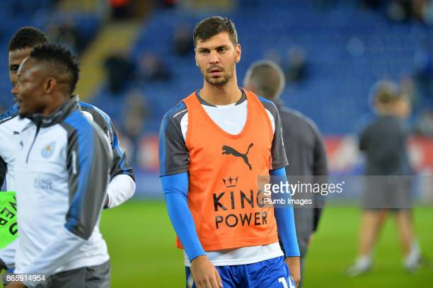 Aleksander Dragovic of Leicester City warms up at King Power Stadium ahead of the Carabao Cup match between Leicester City and Leeds United at King...